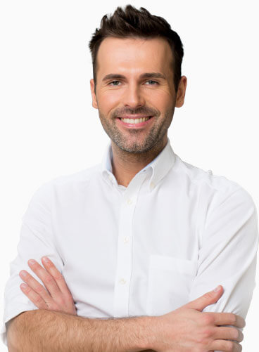 Smart looking man with his arms crossed on a white background